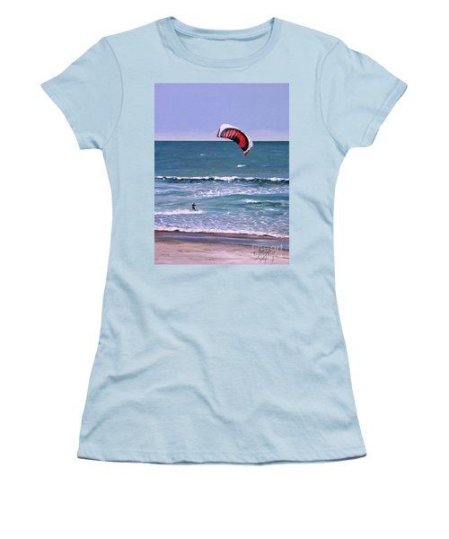 Women's T-Shirt (Junior Cut) featuring the painting Mount Maunganui 160308 by Sylvia Kula