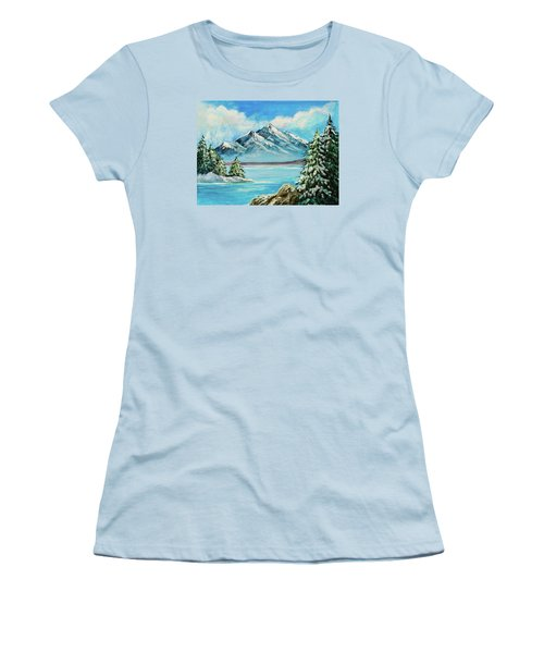 Women's T-Shirt (Junior Cut) featuring the painting Mountain Lake In Winter Original Painting Forsale by Bob and Nadine Johnston