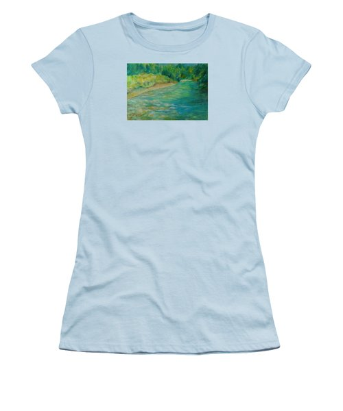 Mountain River In Oregon Colorful Original Oil Painting Women's T-Shirt (Athletic Fit)