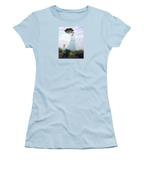 Women's T-Shirt (Junior Cut) featuring the painting Mrs. Monet And Son by Fran Brooks