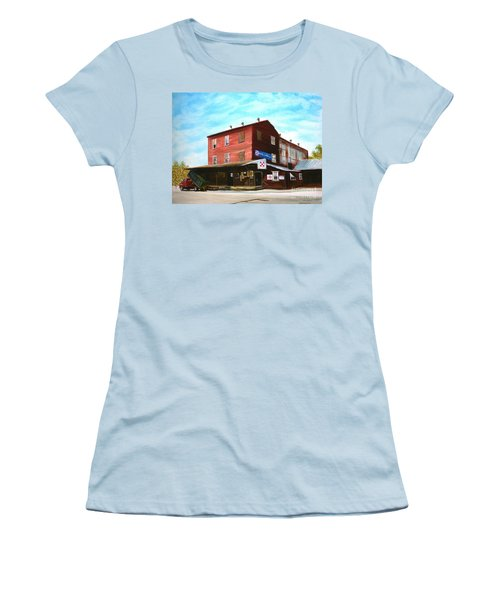 Women's T-Shirt (Junior Cut) featuring the painting Mt. Pleasant Milling Company by Stacy C Bottoms