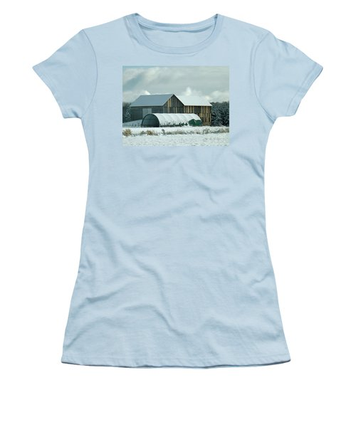 Women's T-Shirt (Junior Cut) featuring the photograph New And Old Barn Planks by Brenda Brown