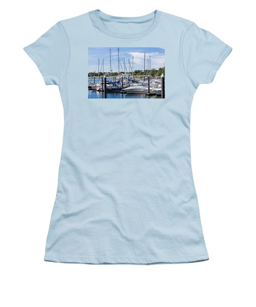 New Hampshire Marina Women's T-Shirt (Junior Cut) by Fred Larson