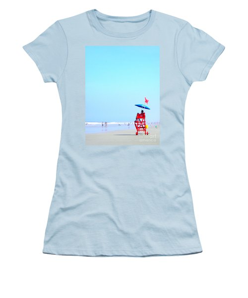 Women's T-Shirt (Junior Cut) featuring the digital art New Smyrna Lifeguard by Valerie Reeves