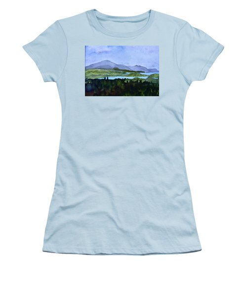 Women's T-Shirt (Junior Cut) featuring the painting Newport From Brownington Lookout by Donna Walsh