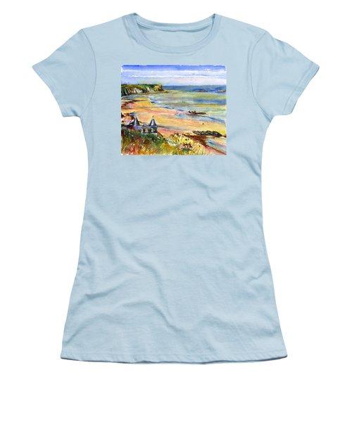 Normandy Beach Women's T-Shirt (Junior Cut) by John D Benson