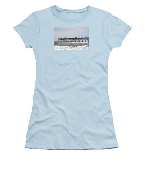 Oak Island Beach Pier Women's T-Shirt (Athletic Fit)