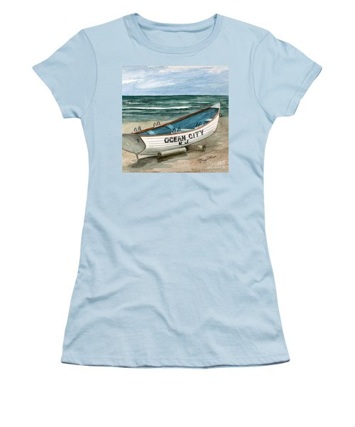 Ocean City Lifeguard Boat 2  Women's T-Shirt (Athletic Fit)