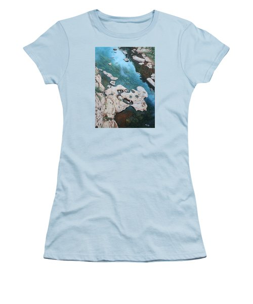 Women's T-Shirt (Junior Cut) featuring the painting Ocoee River Low Tide by Mike Ivey