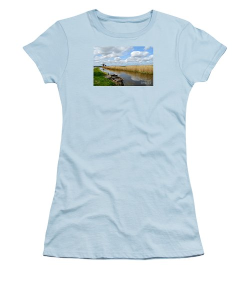 Old Boat In A Canal In Holland Women's T-Shirt (Junior Cut) by IPics Photography