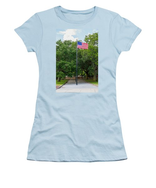 Women's T-Shirt (Junior Cut) featuring the photograph Old Glory High And Proud by Sennie Pierson
