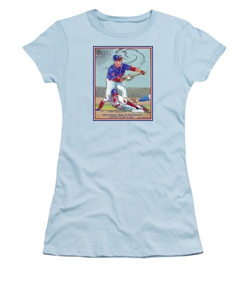 Omar Vizquel Shortstop Magic Women's T-Shirt (Junior Cut) by Ray Tapajna
