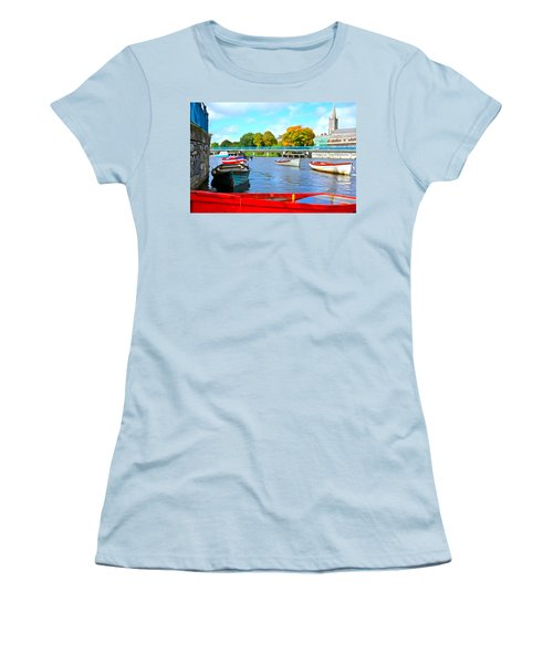 Women's T-Shirt (Junior Cut) featuring the photograph On The Garavogue by Charlie and Norma Brock
