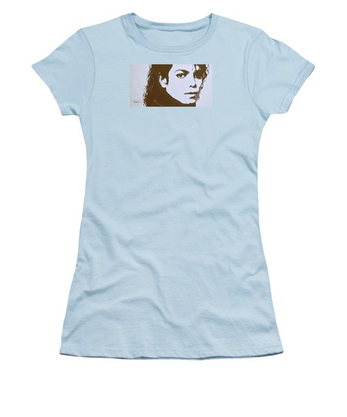 original black an white acrylic paint art- portrait of Michael Jackson#16-2-4-12 Women's T-Shirt (Junior Cut) by Hongtao     Huang