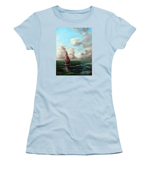 Women's T-Shirt (Junior Cut) featuring the painting Outrunning The Storm by Lee Piper