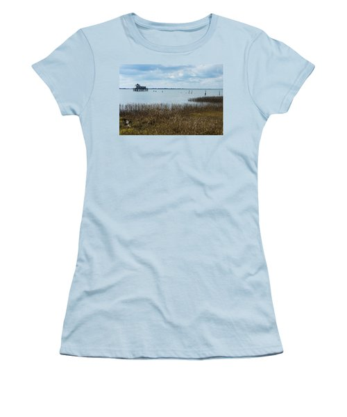 Oyster Shack And Tall Grass Women's T-Shirt (Junior Cut) by Photographic Arts And Design Studio