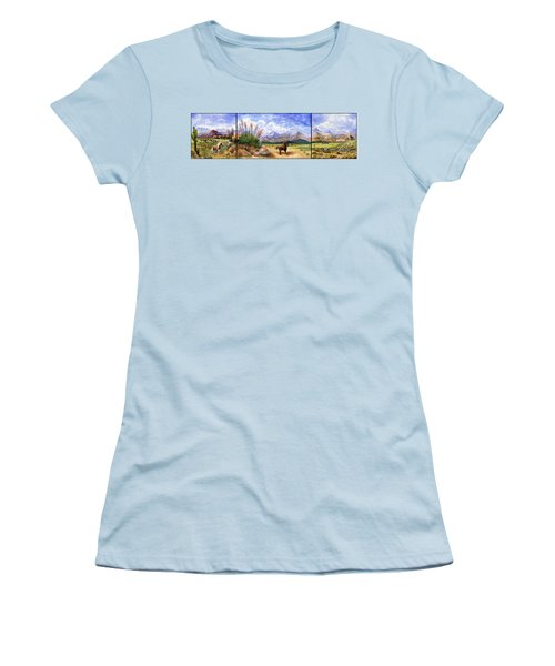Panorama Triptych Don't Fence Me In  Women's T-Shirt (Junior Cut) by Marilyn Smith
