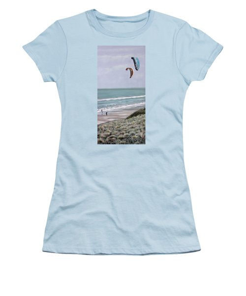 Women's T-Shirt (Junior Cut) featuring the painting Papamoa Beach 090208 by Sylvia Kula