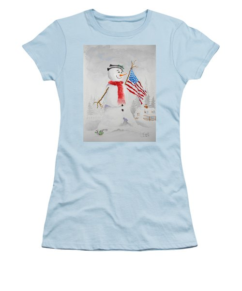 Patriotic Snowman Women's T-Shirt (Junior Cut) by Jimmy Smith