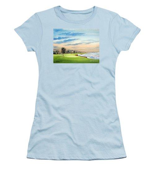 Pebble Beach Golf Course 18th Hole Women's T-Shirt (Junior Cut) by Bill Holkham