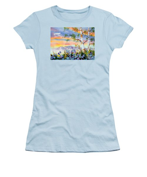 Women's T-Shirt (Junior Cut) featuring the painting Piper Cub Over Sleeping Lady by Teresa Ascone