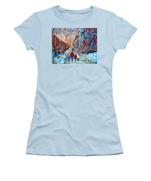 Plateau Montreal Street Scene Women's T-Shirt (Athletic Fit)