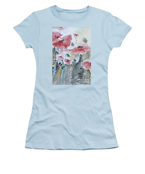 Women's T-Shirt (Junior Cut) featuring the painting Poppies 01 by Ismeta Gruenwald