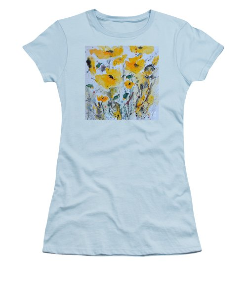 Women's T-Shirt (Junior Cut) featuring the painting Poppies 03 by Ismeta Gruenwald