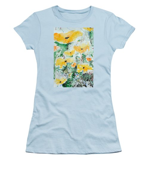Women's T-Shirt (Junior Cut) featuring the painting Poppies 07 by Ismeta Gruenwald