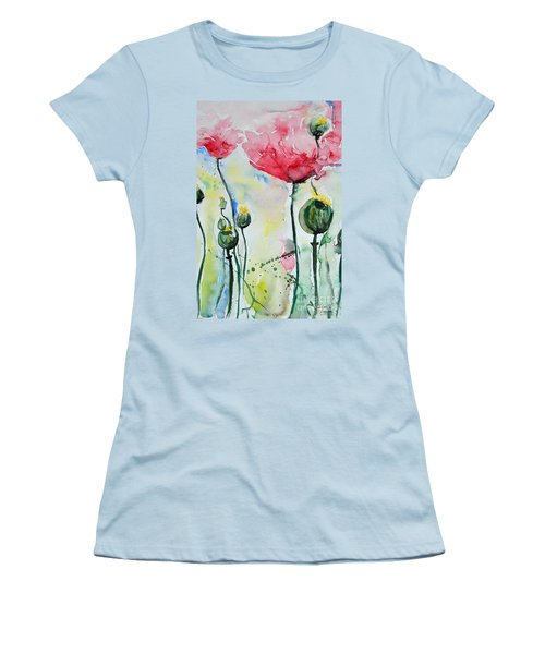 Women's T-Shirt (Junior Cut) featuring the painting Poppies by Ismeta Gruenwald