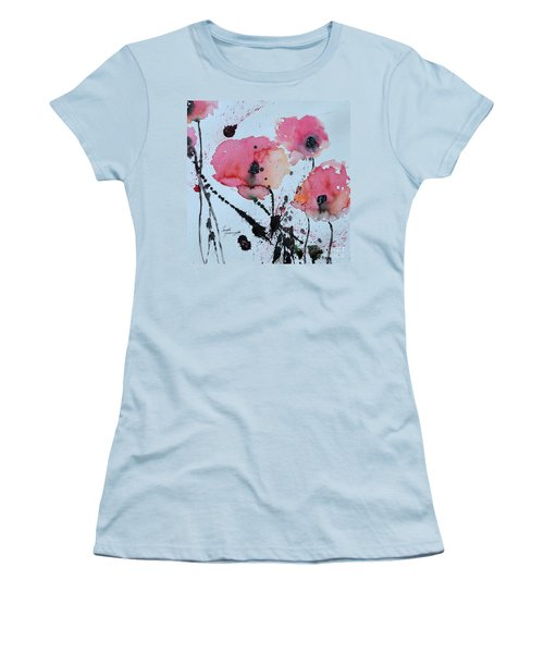 Women's T-Shirt (Junior Cut) featuring the painting Poppies- Painting by Ismeta Gruenwald