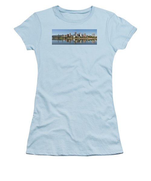 Women's T-Shirt (Junior Cut) featuring the photograph Portland Downtown Waterfront Skyline Panorama by JPLDesigns