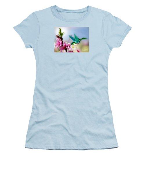 Pretty Hummingbird Women's T-Shirt (Junior Cut) by Morag Bates