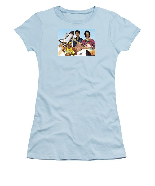 Women's T-Shirt (Athletic Fit) featuring the digital art Jimi, Muhammad Ali, Wilt Chamberlain And Mae Carol Jemison by Thomas J Herring