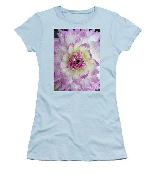 Women's T-Shirt (Junior Cut) featuring the photograph Purple And Cream Dahlia by Jeannie Rhode