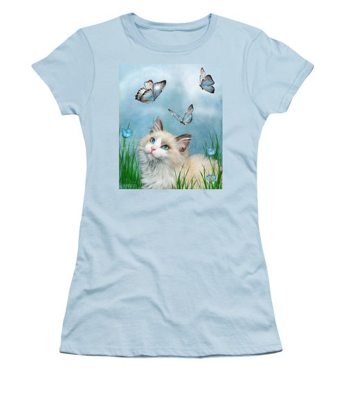 Women's T-Shirt (Athletic Fit) featuring the mixed media Ragdoll Kitty And Butterflies by Carol Cavalaris