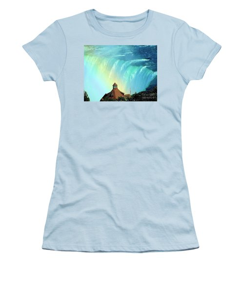 Women's T-Shirt (Junior Cut) featuring the photograph Rainbow Over Horseshoe Falls by Janette Boyd