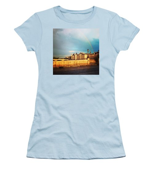 Rainbow Over The Seine. Women's T-Shirt (Athletic Fit)
