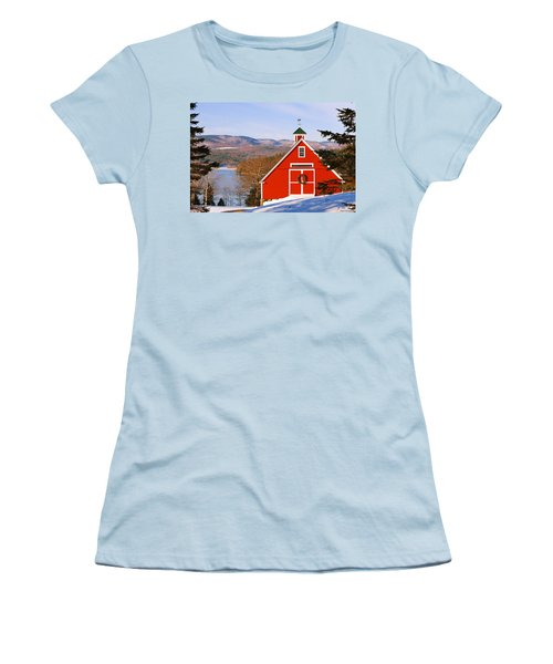Red Barn On Newfound Lake Women's T-Shirt (Athletic Fit)