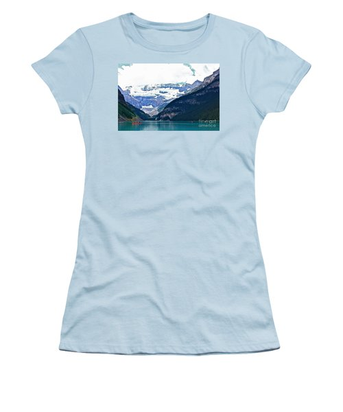 Red Canoes Turquoise Water Women's T-Shirt (Junior Cut) by Linda Bianic