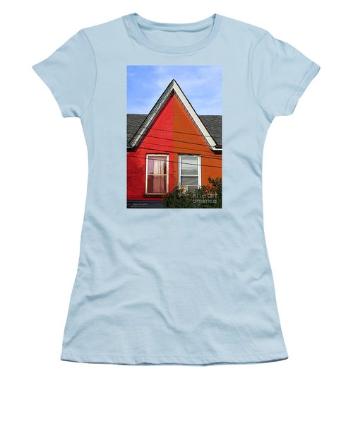 Women's T-Shirt (Junior Cut) featuring the photograph Red-orange House by Nina Silver