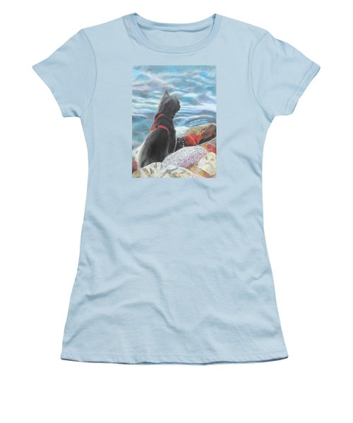 Women's T-Shirt (Junior Cut) featuring the painting Resting By The Shore by Jeanne Fischer