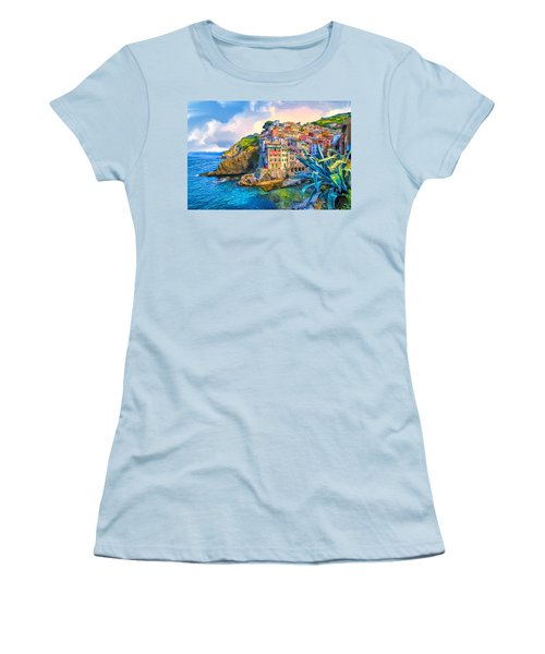 Riomaggiore Morning - Cinque Terre Women's T-Shirt (Junior Cut) by Dominic Piperata