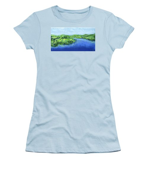Women's T-Shirt (Junior Cut) featuring the painting River Bend by Stephen Anderson