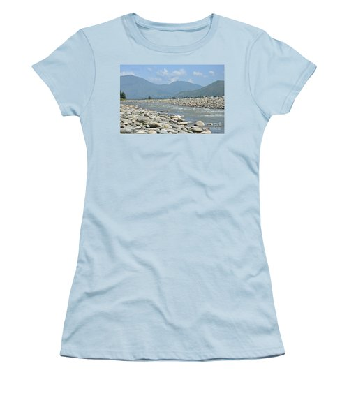 Women's T-Shirt (Junior Cut) featuring the photograph Riverbank Water Rocks Mountains And A Horseman Swat Valley Pakistan by Imran Ahmed