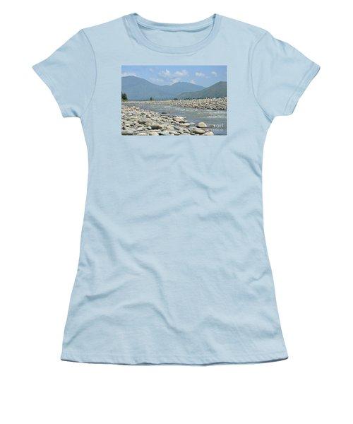 Riverbank Water Rocks Mountains And A Horseman Swat Valley Pakistan Women's T-Shirt (Junior Cut) by Imran Ahmed