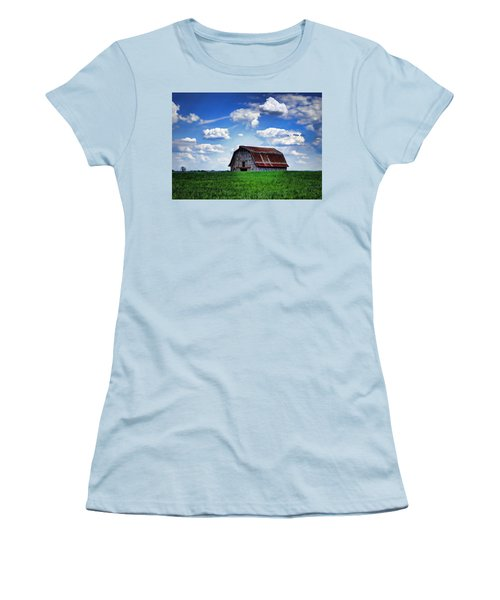 Riverbottom Barn Against The Sky Women's T-Shirt (Junior Cut) by Cricket Hackmann