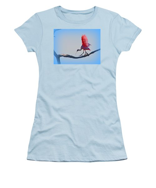 Women's T-Shirt (Junior Cut) featuring the photograph Roseate Spoonbill by David Mckinney