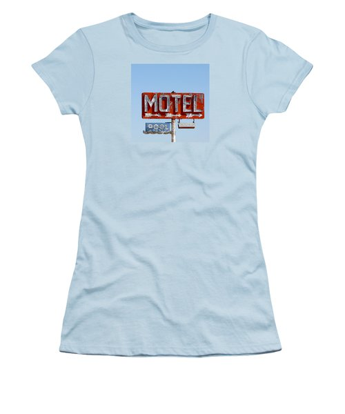 Route 66 Motel Sign Women's T-Shirt (Junior Cut) by Art Block Collections