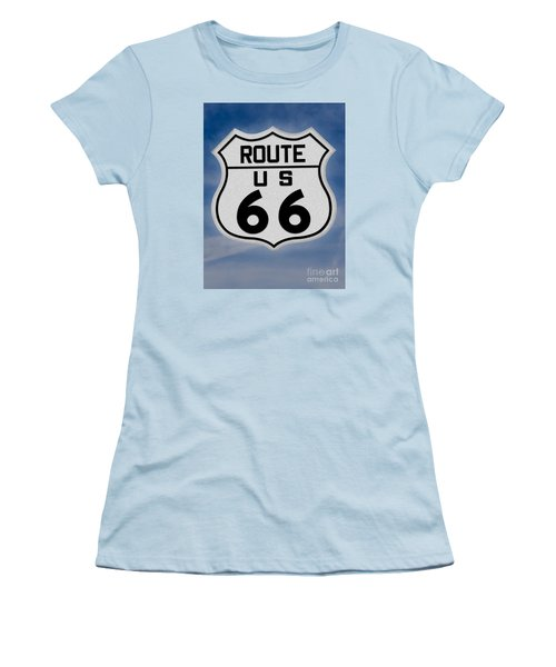 Route 66 Road Sign Women's T-Shirt (Junior Cut) by Gary Warnimont